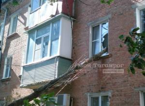 Огромный засохший тополь вонзился в окно техэтажного дома в Таганроге