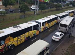 Четыре экскурсионных автобуса с детьми столкнулись в Ростове-на-Дону