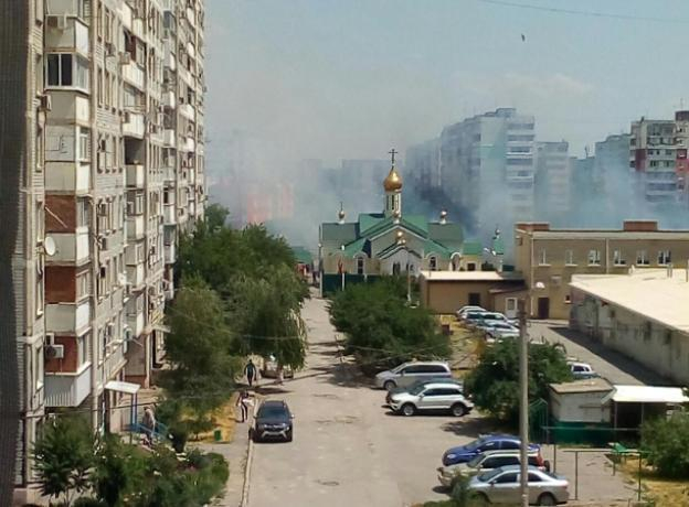 Клубы дыма окутали таганрогскую церковь